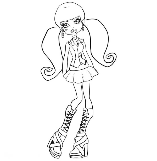 monster high cute draculaura posing in monster high coloring page
