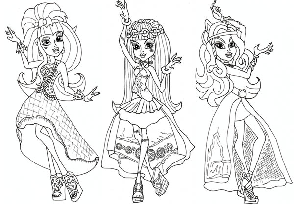 draculaura and friends in dancer clothes in monster high coloring page