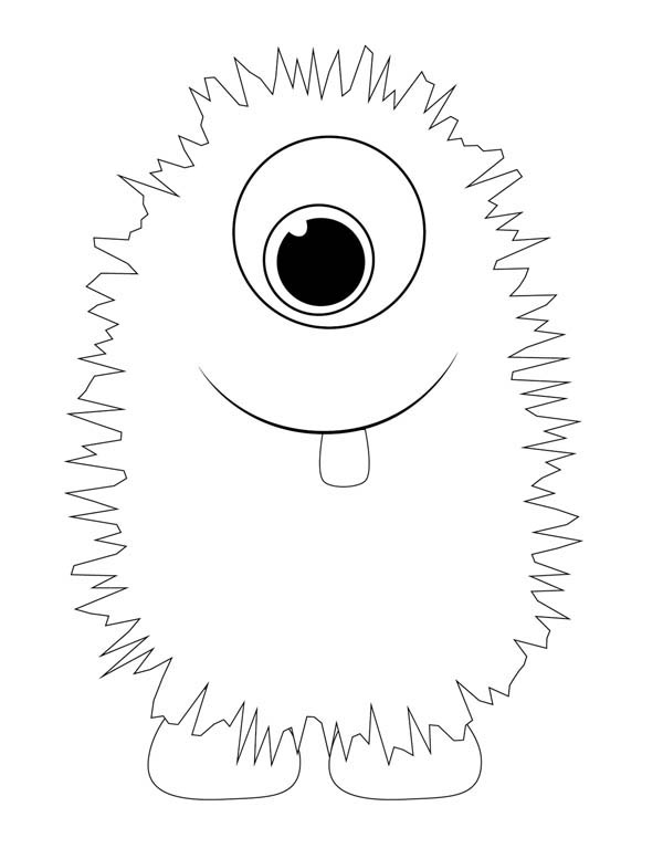 monsters lovely fluffy monster coloring page