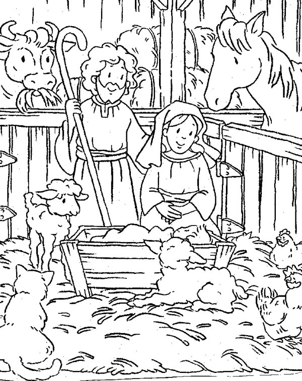 scene of nativity coloring page color luna