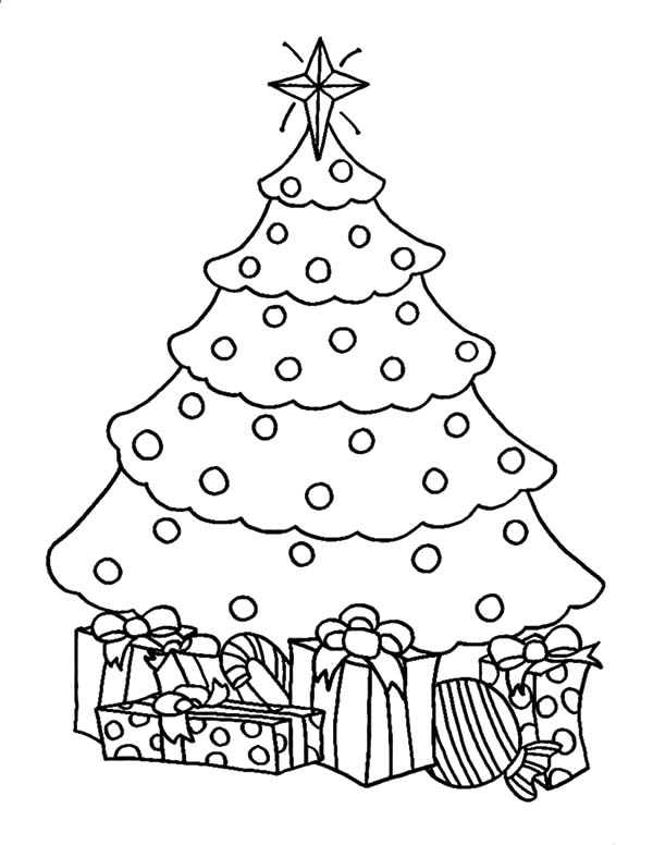 artificial christmas trees with presents coloring pages color luna
