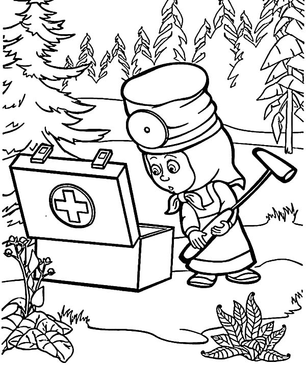 masha and the bear first aid kit coloring pages color luna