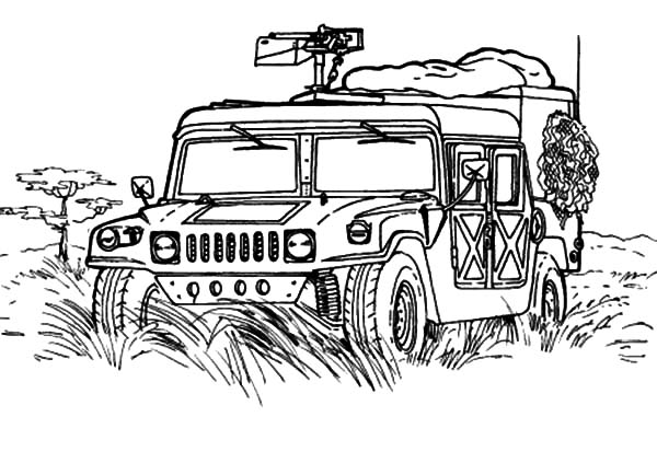 Military Jeep Patrol Coloring Pages