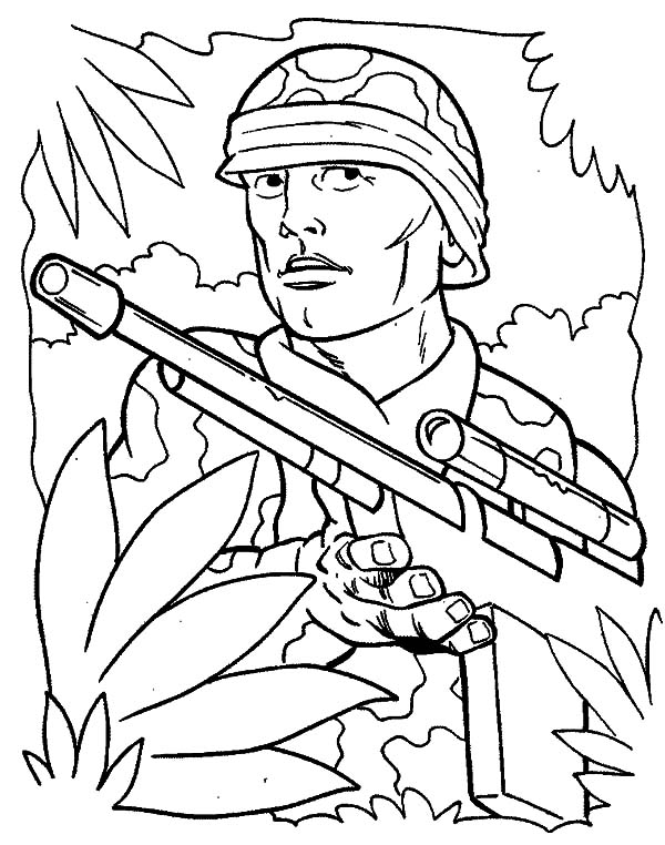 military soldier guerilla in the jungle coloring pages military