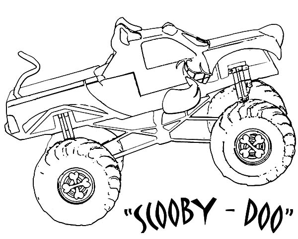 monster jam scooby doo monster truck coloring pages color luna