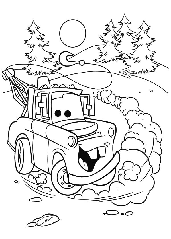 tow mater drifting coloring pages color luna