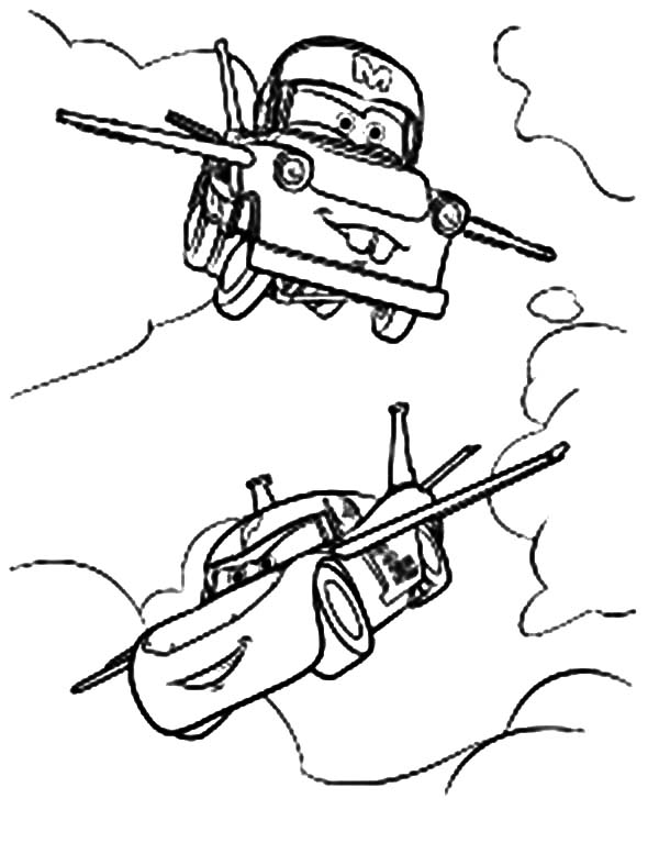 tow mater flying coloring pages color luna