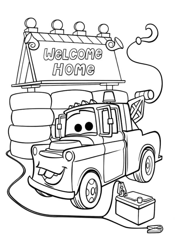 tow mater house coloring pages color luna