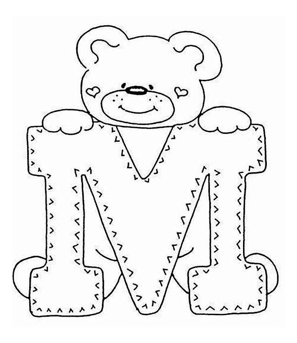 letter m with cute teddy bear coloring page download amp print
