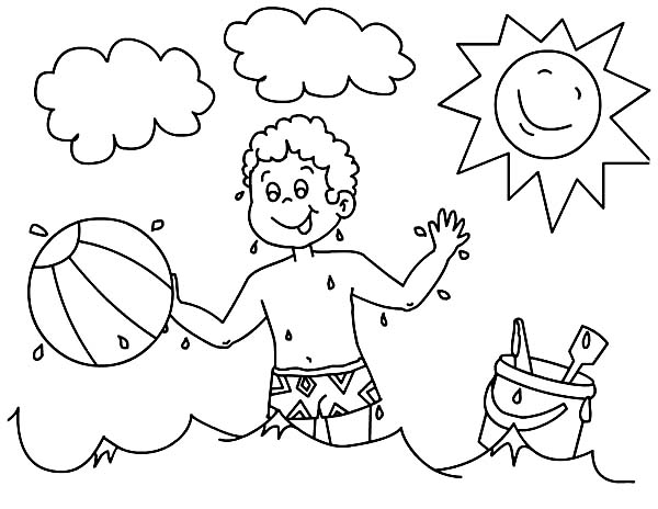 a boy playing with his beach ball coloring page download amp print