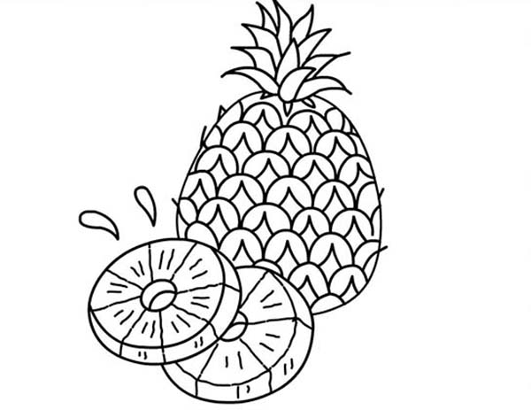 A Juicy Slice Of Pineapple Coloring Page Download