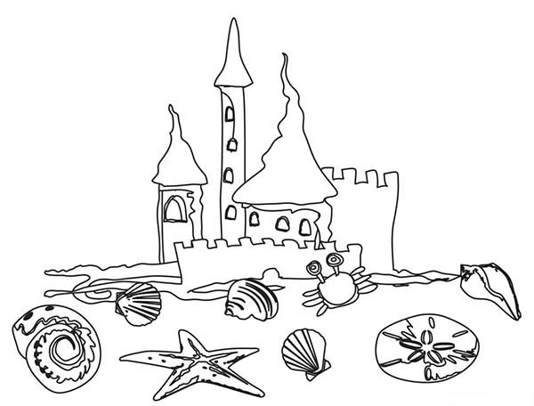 a kids drawing of beach sand castle coloring page download