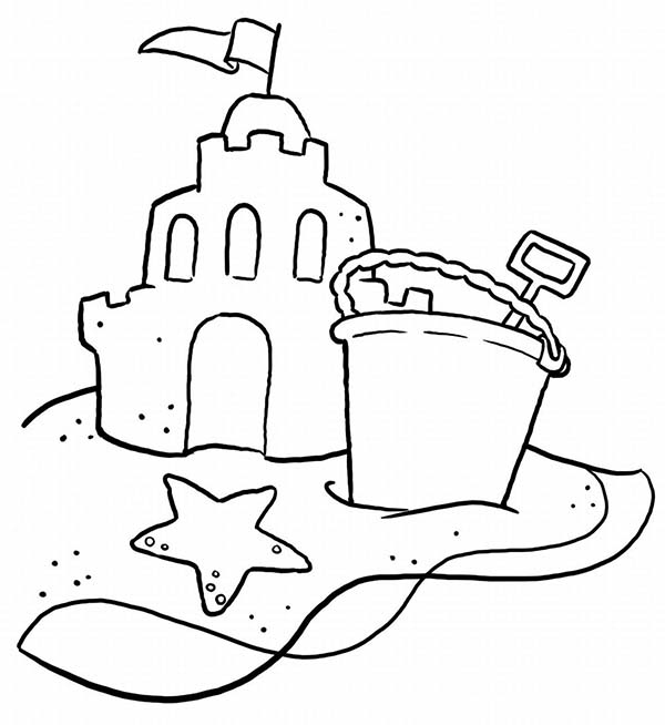 a typical beach sand castle and a bucket coloring page download