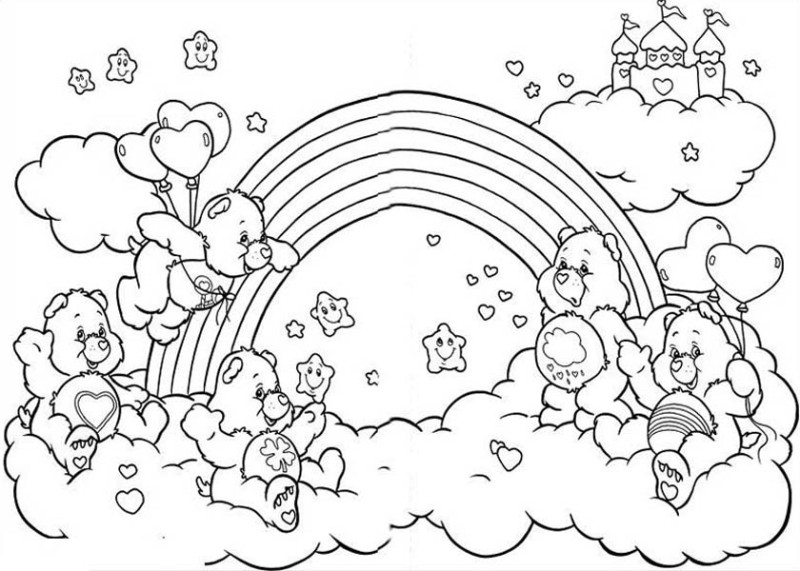 coloring page all the happy care bear welcoming the rainbow coloring