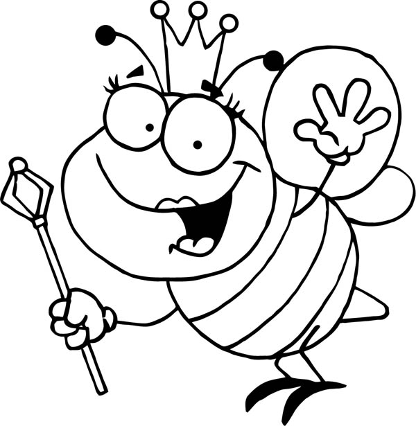 bumblebee queen with royal sceptre coloring page download