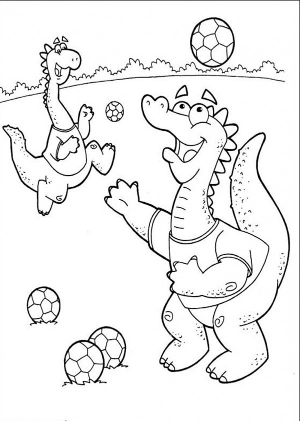little dinosaurs playing soccer coloring page download amp print