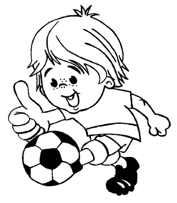 this little boy is playing soccer happily coloring page download