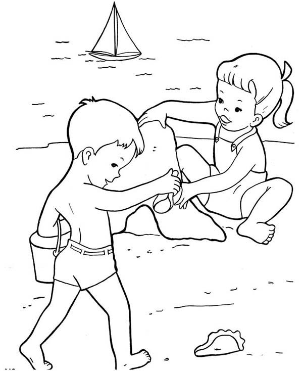 two kids build sand castle together coloring page download