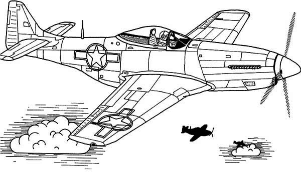 p51 sky domination airplane coloring page download amp print