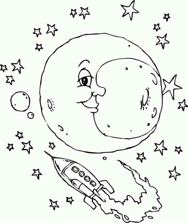 moon and the rocket ship coloring page download amp print online