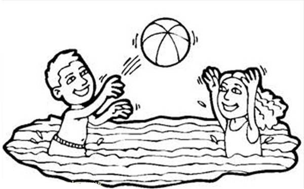 volleyball in a swimming pool coloring page download amp print