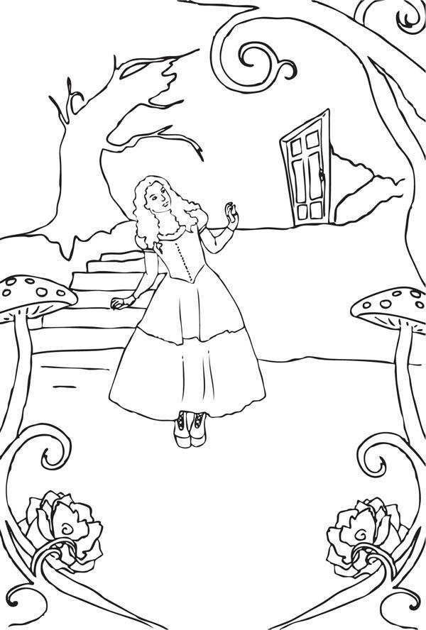 Alice In Wonderland Entering Fantasyland Coloring Page