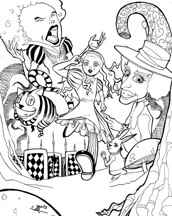 Wonderland Print Trippy Pages Coloring Alice