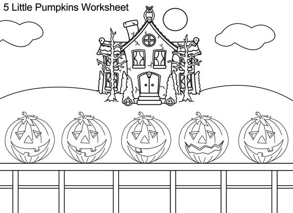 Five Pumpkins On Coloring Page