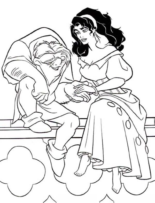 Quasimodo Holding Esmeralda Hand In The Hunchback Of Notre