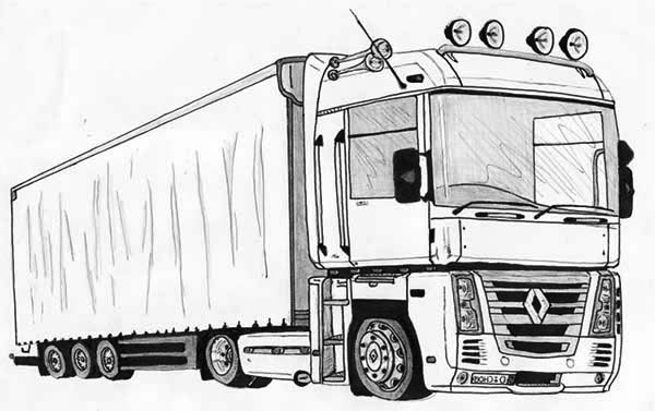 semi truck drawing coloring page download amp print online