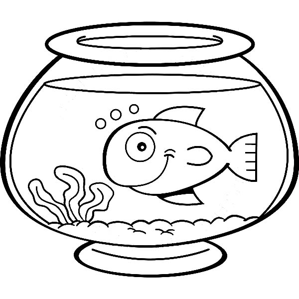 fish bowl smiling fish in fish bowl coloring page