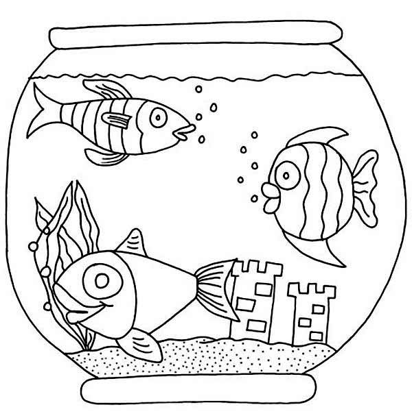 fish bowl three fish with castle in fish bowl coloring page
