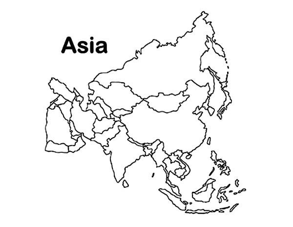 asia continent in world map coloring page download amp print