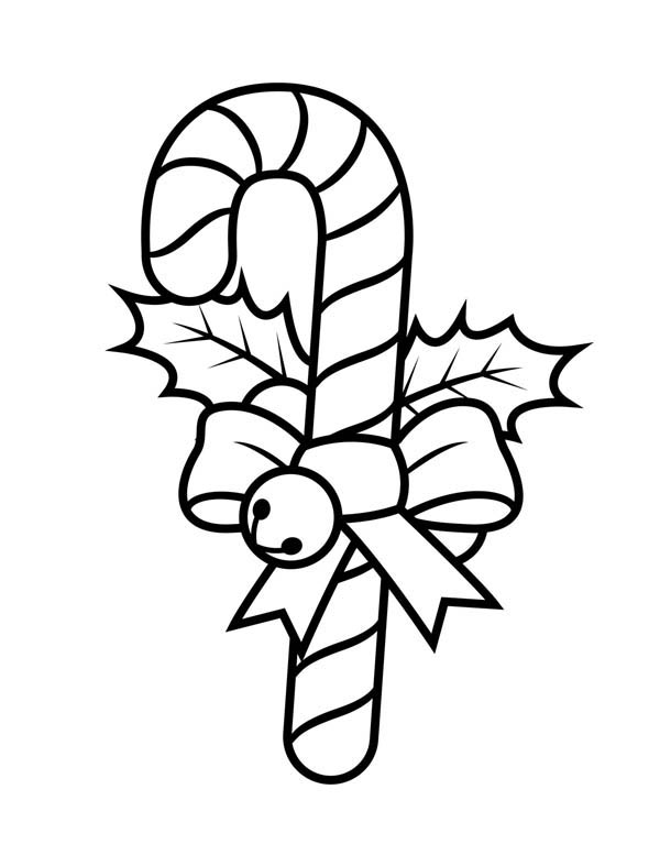 candy cane with ribbon and little bell coloring page download
