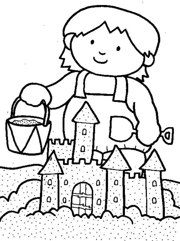 kid playing sand castle on the beach coloring page download