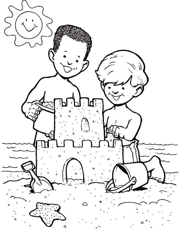 sand castle create by two boys coloring page download amp print