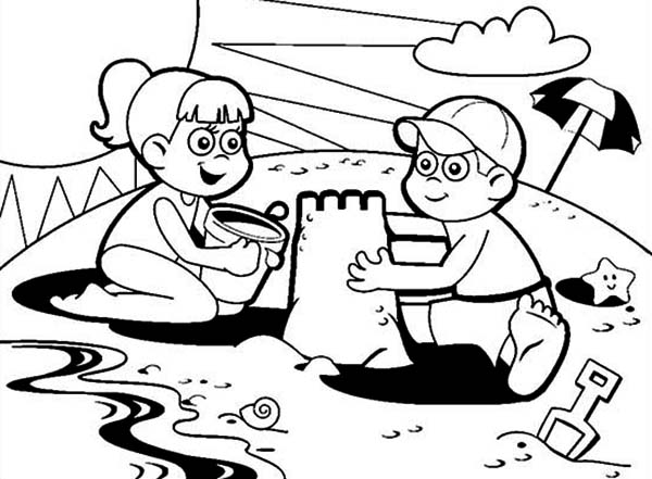 two kids colaborate making sand castle coloring page download