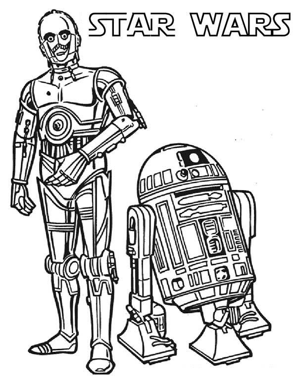 star wars c3po and r2d2 the star wars droids coloring page
