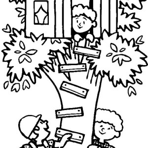 spending summertime in tree house coloring page