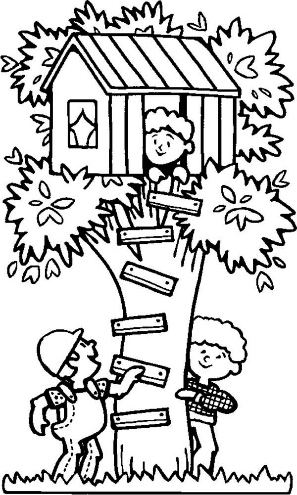 summertime spending summertime in tree house coloring page