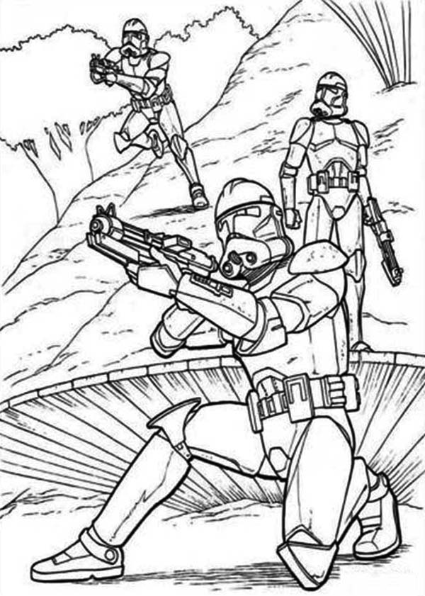 Star Wars Clone Wars Coloring Pages Jedi. The Clone Troopers Standby In Star Wars Coloring Page clone wars coloring pages  for kids