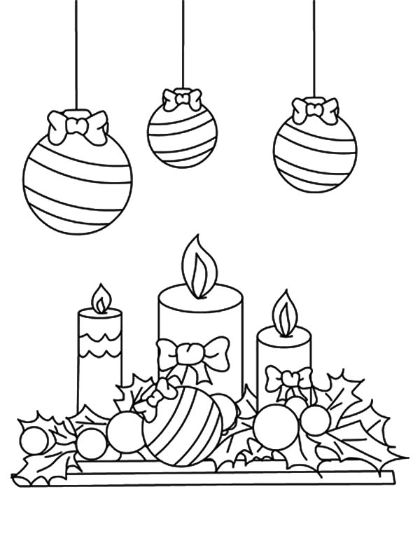 christmas mistletoe coloring pages candles sketch template