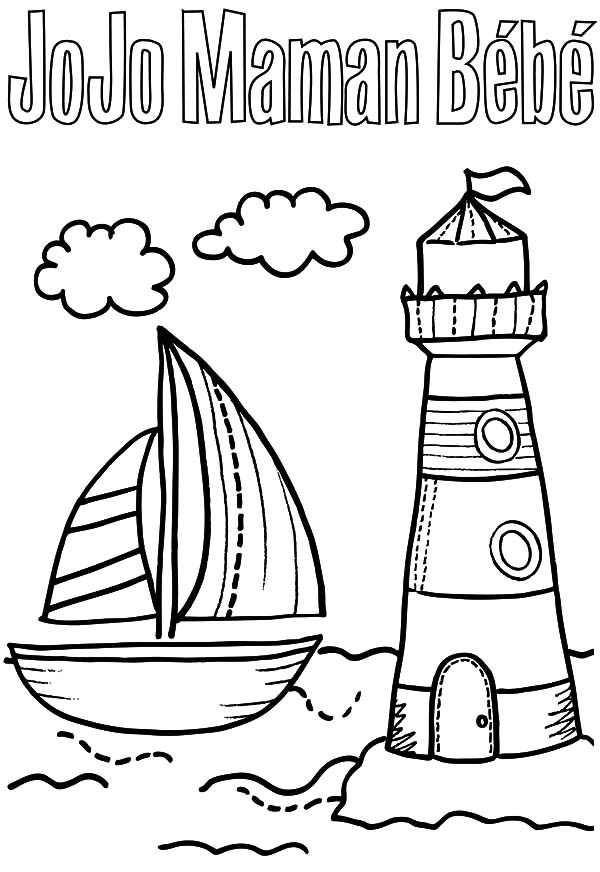 a sailboat and lighthouse coloring pages a sailboat and