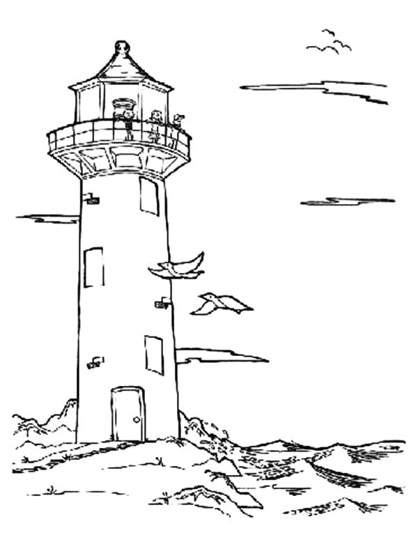 an old lighthouse at the beach coloring pages an old lighthouse