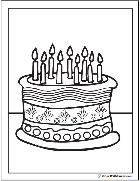 28 Birthday Cake Coloring Pages Customizable Ad Free Pdf Printables