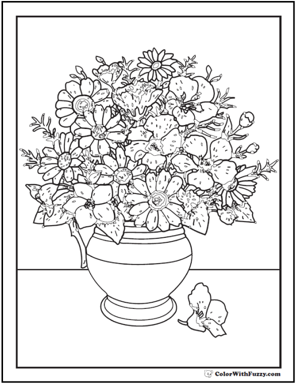 102+ Flower Coloring Pages: Customize And Print PDF | colouring pages flowers in a vase