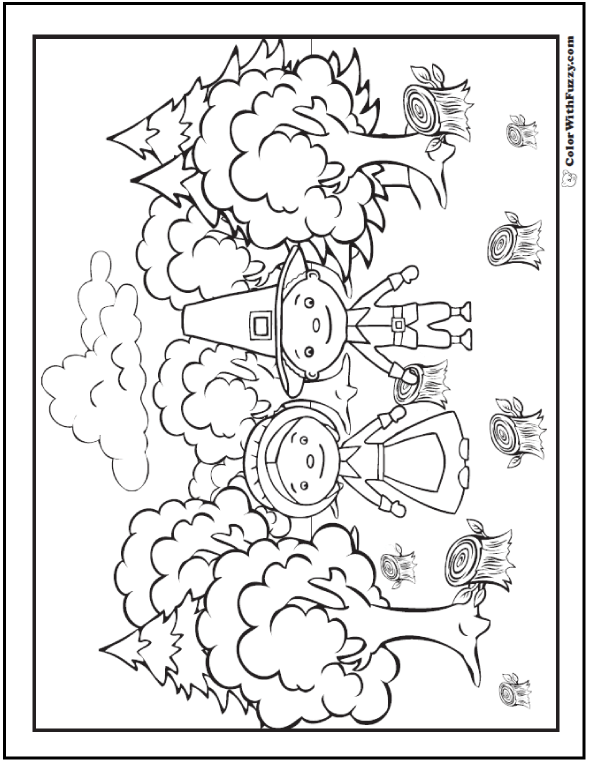 Cute Pilgrim Coloring Page Mom And Dad At Work