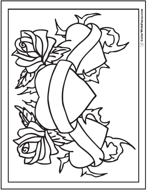 hearts with roses and ribbons coloring pages for kids cooloring com