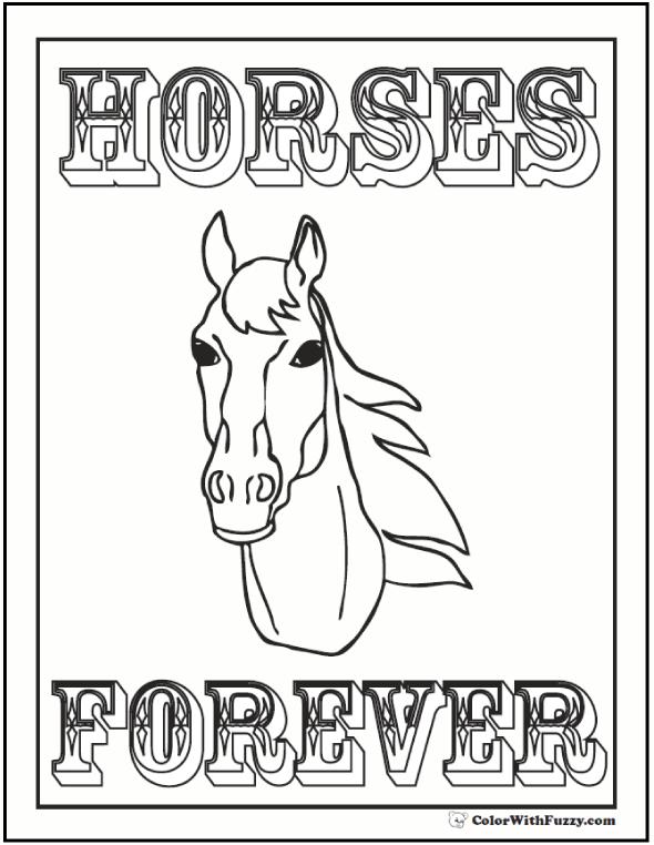 horse head coloring page horses are forever