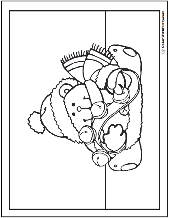 jingle bells teddy bear coloring page png
